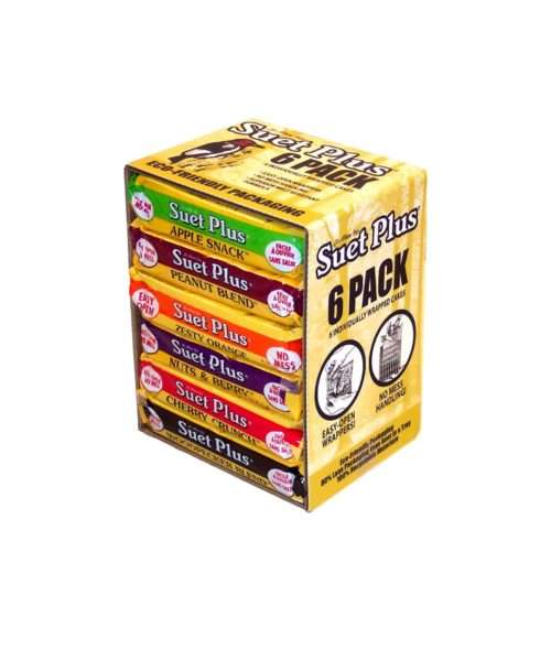 6 Pack of Suet Plus Suet cakes in a variety of flavors